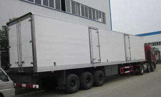 38ton 60cbm 3axles refrigerated trailer (GRP body,with 2 doors on side,ventilation slot,ABS,air suspension )